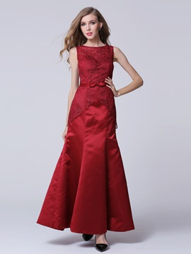 Gorgeous Round Neck Bowknot Lace Long Evening Dress