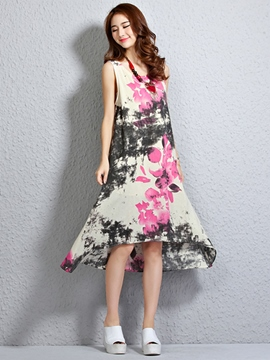 Ink Print Asymmetrical Casual Dress
