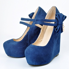 Bowtie Ankle Strap Wedges