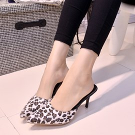 Ericdress Leopard Pointed-toe Stiletto Heel Slippers