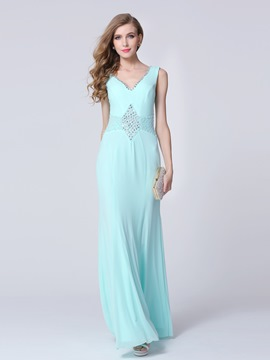 Ericdress V-Neck Beaded Long Evening Dress