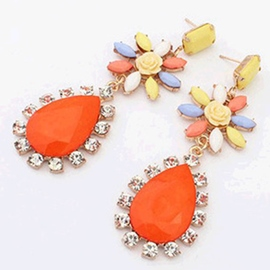 Ericdress Fluorescence Flower Gem Water Drop Earrings (Price For A Pair)