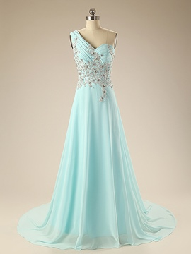 Ericdress One-Shoulder Court Train Appliques Beading Long Evening Dress