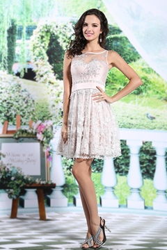 Ericdress A-Line Jewel Neck Lace Short Homecoming Dress