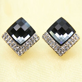 Ericdress Rhombus Diamante Gem Earrings (Price For A Pair)