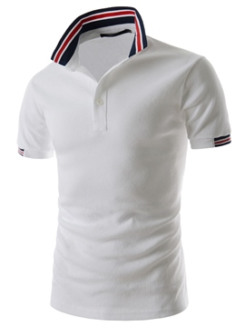 Ericdress Striped Collar Short Sleeve POLO Men's T-Shirt