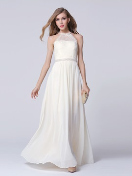 Ericdress A-Line Lace Pearl Long Evening Dress