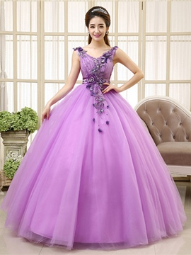 Ericdress V-Ausschnitt Applikationen Ball Kleid lang Quinceanera Kleid
