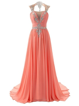 Ericdress Sparkling Crystals Open Back Long Evening Dress