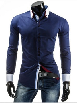 Ericdress Color Block Double Collar Men's Shirt