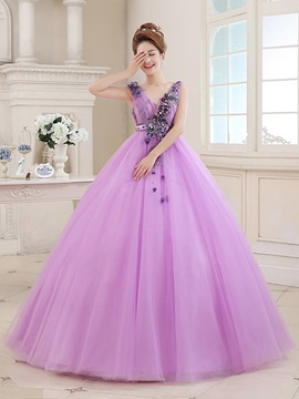 Ericdress Appliques Sequins V-Neck Long Quinceanera Dress