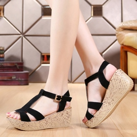 Pretty Suede Wedge Sandals