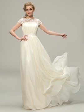 Ericdress Amazing A Line Jewel Lace Long Wedding Dress