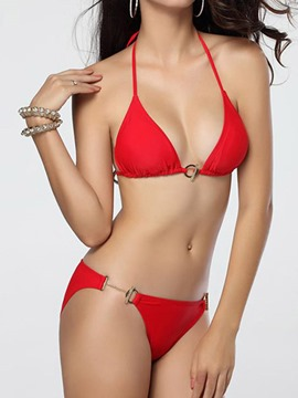 Ericdress Solid Color Halt Strappy Chain Decorated Bikini Set