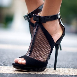 Mesh Peep-toe Stiletto Sandals with Bowknot