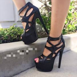 Hollow-outs Peep-toe Stiletto Sandals with Zipper