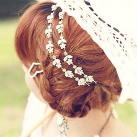 Ericdress Diamante Crystal Flower Leaf Headband