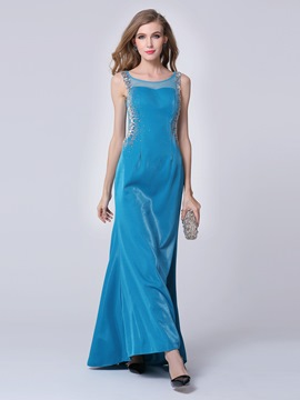 Elegant Scoop Neck Straps Beaded Long Evening Dress