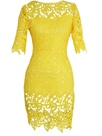 Solid Color Lace Hollow Round Neck Clubwear Dress
