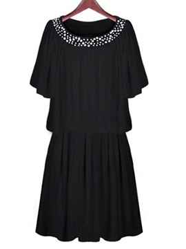Plus Size Chiffon Short Sleeves Casual Dress