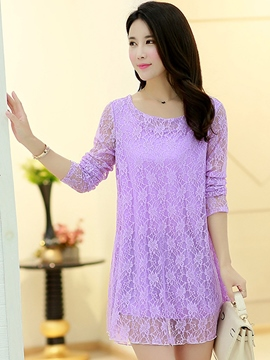 Ericdress Plain Lace Hollow Plus Size Blouse