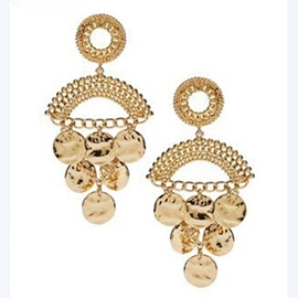 Ericdress Ethnic Golden Disk Water Drop Earrings(Price For A Pair)