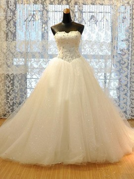 Ericdress Pretty Appliques Strapless Beading A Line Wedding Dress
