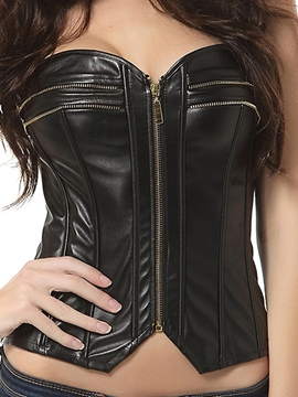 Ericdress Plain Multi-Zipper PU Corset