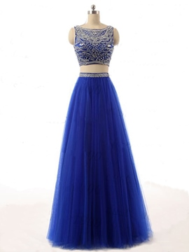 Ericdress Scoop A-Line Beaded Two-Piece Long Evening Dress