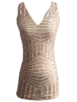 Deep V-Neck Sequins Sleeveless Clubwear Dress