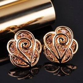 Ericdress Hollow Rose Zircon Earrings(Price For A Pair)