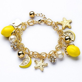Starfish Lemon Fruit Pendant Bracelet