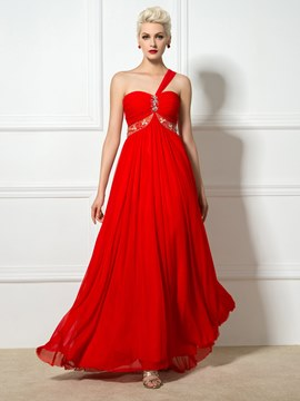 Ericdress One-Shoulder Beading A-Line Long Prom Dress