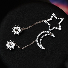 Ericdress Star Moon Asymmetric Earrings(Price For A Pair)