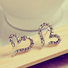 Elegant Opening Heart Diamante Earrings(Price For A Pair)