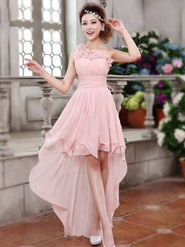 Ericdress Pretty One Shoulder Flowers Asymmetry Bridesmaid Dress