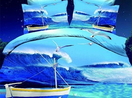 Ericdress Sailboat Seagulls Print 3D Bedding Sets