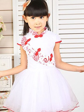 Ericdress Print Button Decorated Mandarin Collar Girls Dress