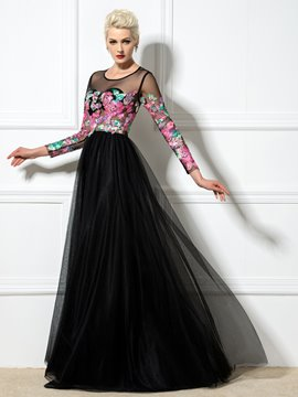 Ericdress Long Sleeve Applliques A-Line Floor-Length Evening Dress