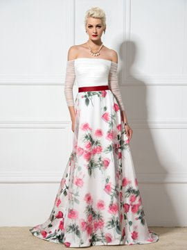 Ericdress Off-The-Shoulder A-Line Floral Print Evening Dress