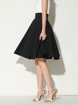 Ericdress Plain Pleated High Waist Skirt