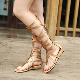 Roman Knee High Thong Flat Sandals