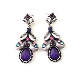Ericdress Elegant Water Drop Colorful Diamante Earrings(Price For A Pair)