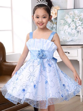 Ericdress Plain Spaghetti Strap Girls Dress