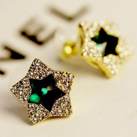 Ericdress Exaggerate Five-Pointed Star Diamante Earrings(Price For A Pair)