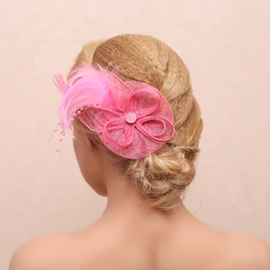 Gracious Fur&Pearl Decorated Hair Clip
