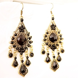 Ericdress Black Hollow Gem Earrings(Price For A Pair)