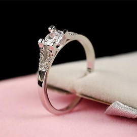 Ericdress Girlfriend Gift Micropave Silver Ring