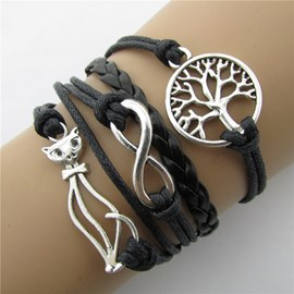 Indolent Cat Shaped Multi-layers Bracelet