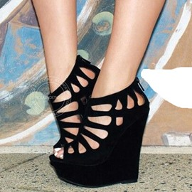 Trendy Black Hollow Out Wedge Sandals